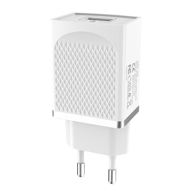 Szybka ładowarka sieciowa QC 3.0 USB HOCO C42A Szybkie ładowanie Quick Charge 3.0 zasilacz 3A Vast Power biała