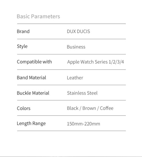 Apple Watch Pasek skórzany do zegarka Dux Ducis Leather Band Apple Watch 38mm/40mm ciemny brąz