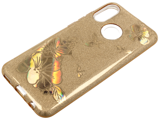 Etui Brokat Glitter IPHONE X złoty kwiat