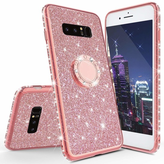 Etui Diamond Ring Glitter Brokat SAMSUNG GALAXY S10e różowe