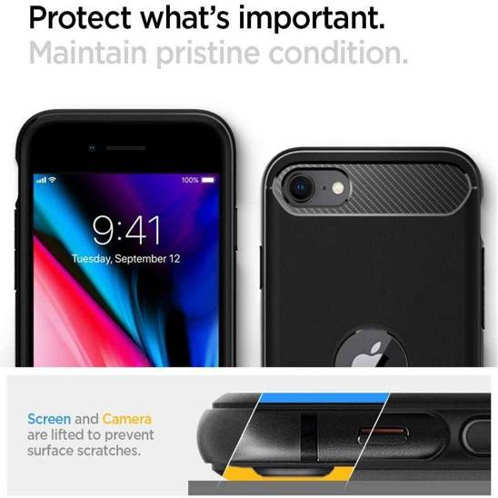 Etui IPHONE SE 2020 Spigen Rugged Armor Pancerne czarne