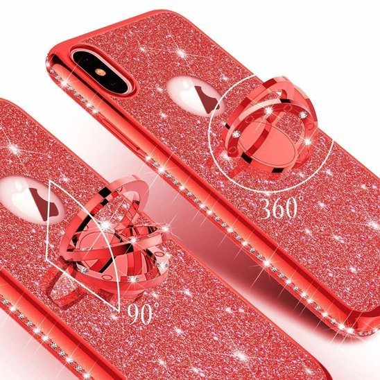 Etui SAMSUNG GALAXY A71 Diamond Ring Brokat czerwone
