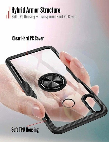 Etui XIAOMI REDMI 9A Clear Carbon Ring czarne