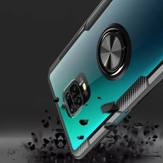 Etui XIAOMI REDMI NOTE 9 Clear Carbon Ring czarne